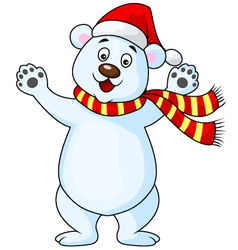 Polar bear cartoon with red hat vector image