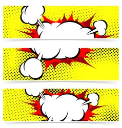 Pop art comic book explosion steam cloud header vector