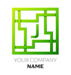 Realistic letter j symbol in colorful square maze vector
