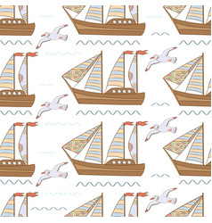 Sea seamless pattern with ships and seagulls vector