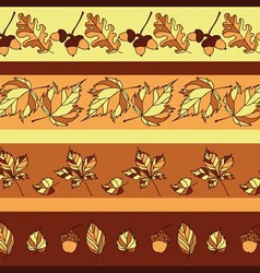 Seamless pattern with autumn leaves and acorns vector