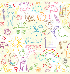 Seamless pattern with child drawings vector