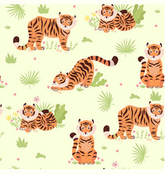 seamless pattern with cute tigers and plants vector image