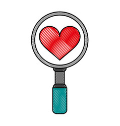 Search heart flat scribble vector