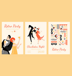 Set invitation cards to a retro party vector