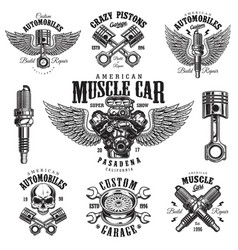 Set of vintage monochrome car repair emblems vector