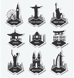 set stickers in different countries vector image