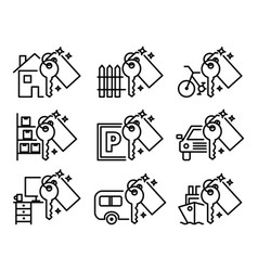 sharing economy set of various outline icons vector image