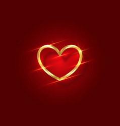 shiny gold heart logo 3d icon valentine s day vector image