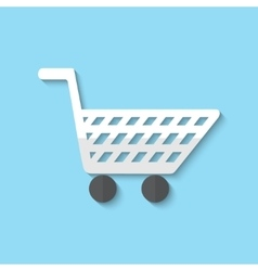 Shopping cart web flat icon vector