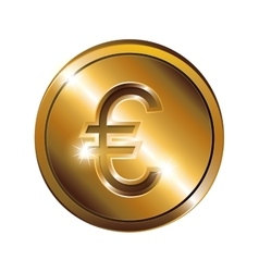 silhouette with coin gold and currency symbol euro vector image