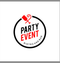 simple round emblem party and event badge vector image
