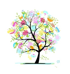 sketch floral tree for your design vector image
