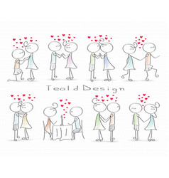 Stick figure people love wedding couple valentine vector