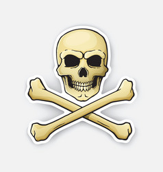 Sticker skull jolly roger with crossbones at the vector