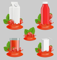 strawberry juice package realistic mockup vector image