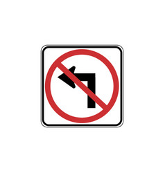 Usa traffic road signs no left turn vector