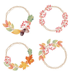 watercolor autumn leaves on dry twig wreath frame vector image