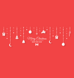 white christmas figurines hang on a rope vector image