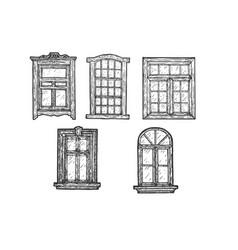 Windows wooden sketch engraving vector