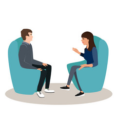 woman and man are seating in chairs and discussing vector image