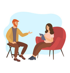 woman is sitting on a large sofa psychologist vector image