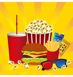 Cine fast food combo with a burger french fries so vector