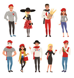 french male and female characters people dressed vector image