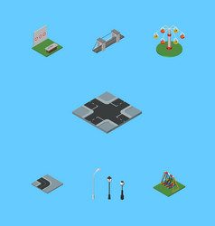 Isometric architecture set of aiming game swing vector