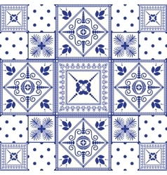 seamless patchwork background Navy blue vector image