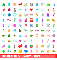 100 health and beauty icons set cartoon style vector image
