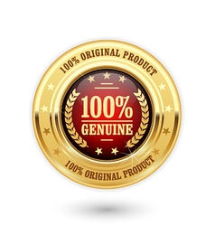 100 percent genuine product - golden insignia vector image vector image