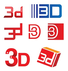 3d symbol set vector image vector image