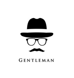 a gentleman with a hat glasses and a mustache vector image vector image