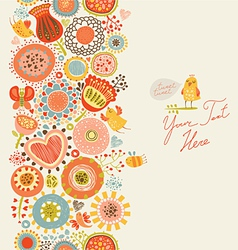 Floral pattern with funny birds and insects vector image
