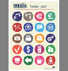 Media and business icons set drawn by chalk vector image vector image