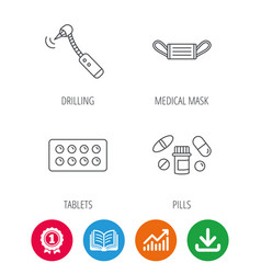 Medical mask pills and drilling tool icons vector