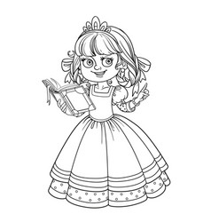 beautiful princess read book outlined picture for vector image