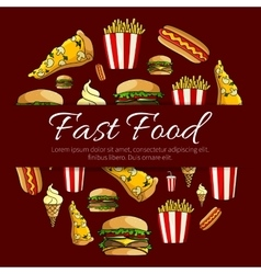 Fast food menu card circle design vector image vector image