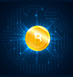 golden bitcoin digital currency cryptocurrency vector image