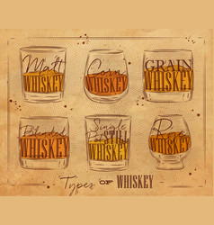 poster types whiskey craft vector image