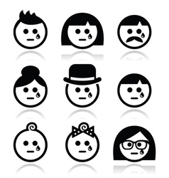 Crying people faces - man woman baby icons set vector image vector image