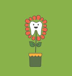 cute healthy tooth is growing as teeth flower vector image vector image