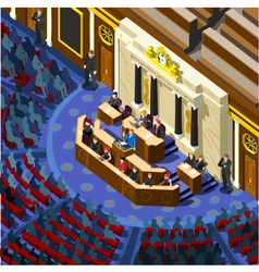Election Infographic Parliament Hall Isometric vector image