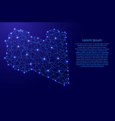 Map of libya from polygonal blue lines and glowing vector