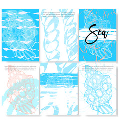 set of trendy stylish templates on sea theme vector image