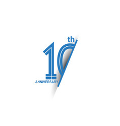 10 anniversary blue cut style isolated on white vector