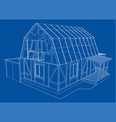 3d rendering of house wireframe structure vector