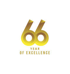 66 year excellence template design vector