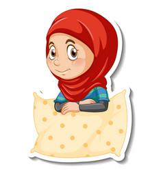 A sticker template with muslim girl hugs pillow vector